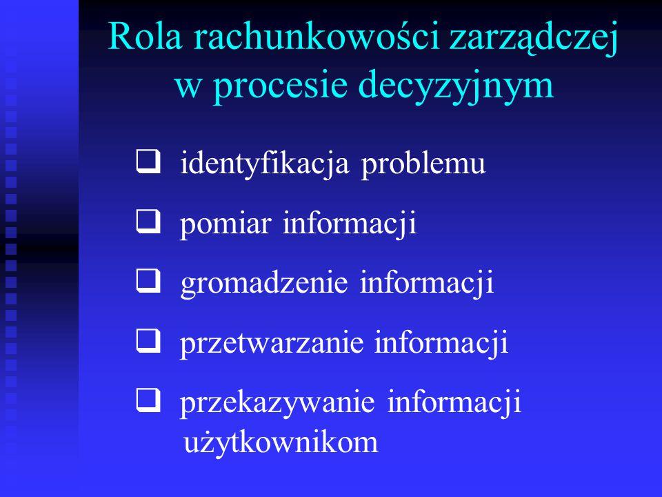 Rola rachunkowości zarządczej w procesie decyzyjnym
