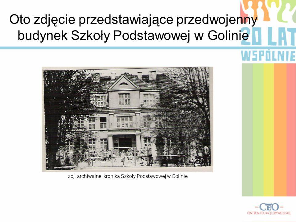 zdj. archiwalne, kronika Szkoły Podstawowej w Golinie