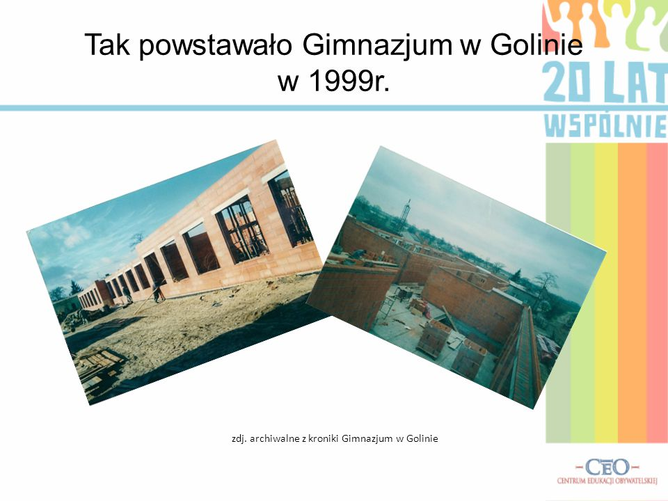 Tak powstawało Gimnazjum w Golinie w 1999r.
