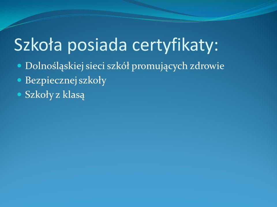 Szkoła posiada certyfikaty:
