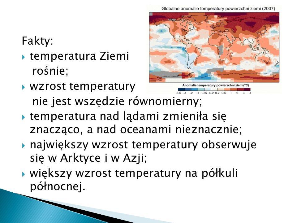 Fakty: temperatura Ziemi. rośnie; wzrost temperatury. nie jest wszędzie równomierny;