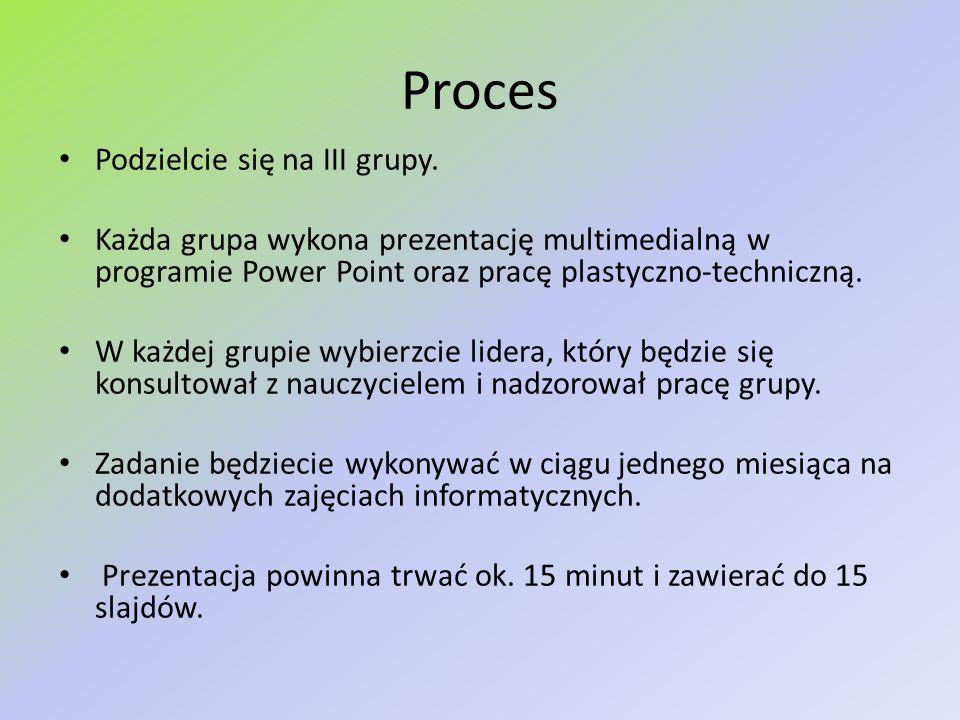 Proces Podzielcie się na III grupy.