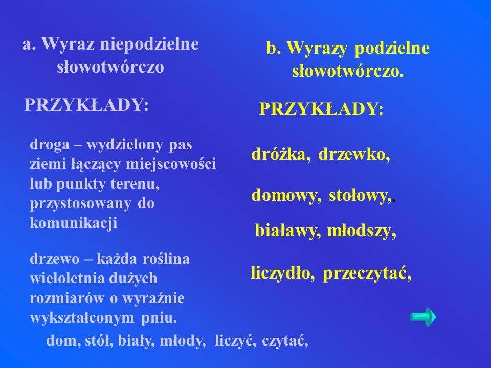 a. Wyraz niepodzielne słowotwórczo b. Wyrazy podzielne słowotwórczo.