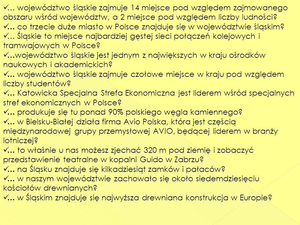 … województwo śląskie zajmuje 14 miejsce pod względem zajmowanego obszaru wśród województw, a 2 miejsce pod względem liczby ludności