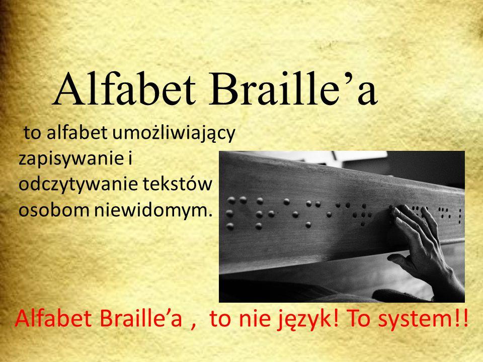 Alfabet Braille'a Alfabet Braille'a , to nie język! To system!!
