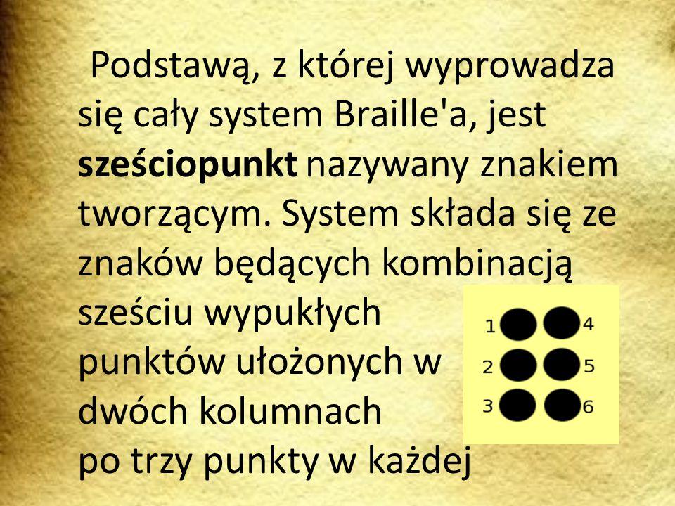 Podstawą, z której wyprowadza się cały system Braille a, jest sześciopunkt nazywany znakiem tworzącym.