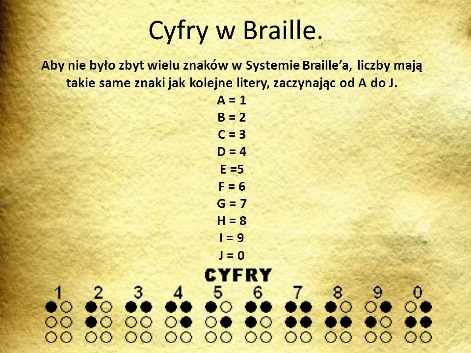 Cyfry w Braille. Aby nie było zbyt wielu znaków w Systemie Braille'a, liczby mają takie same znaki jak kolejne litery, zaczynając od A do J.
