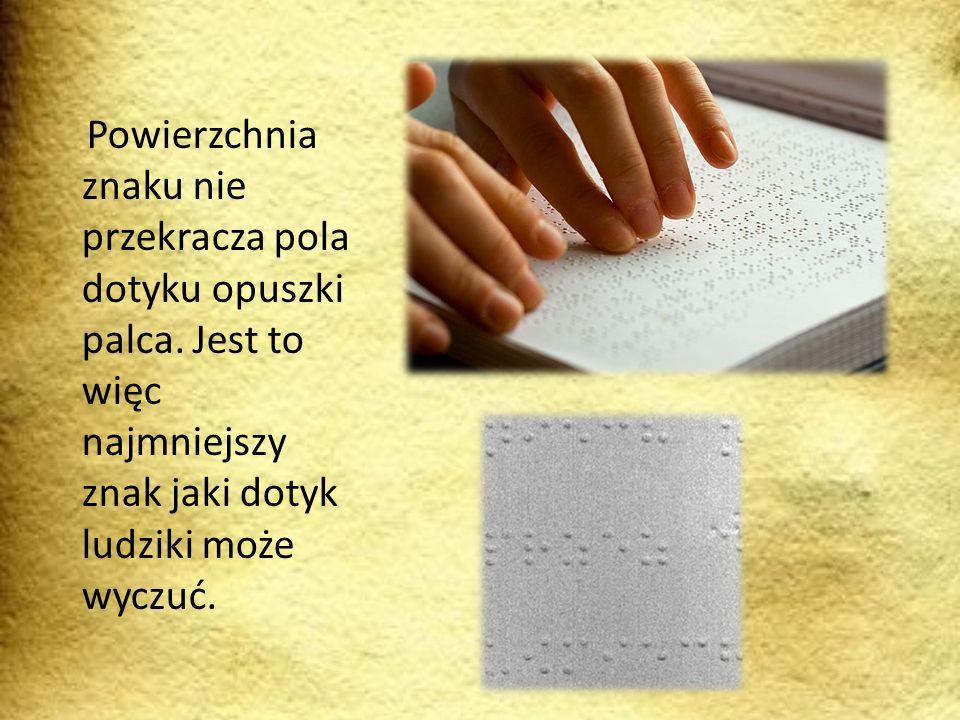 Powierzchnia znaku nie przekracza pola dotyku opuszki palca