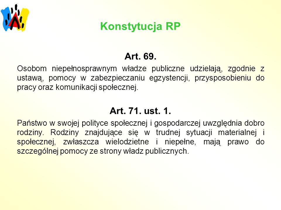 Konstytucja RP Art. 69. Art. 71. ust. 1.