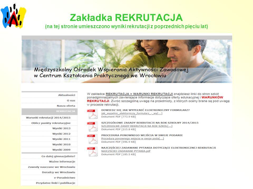 Zakładka REKRUTACJA (na tej stronie umieszczono wyniki rekrutacji z poprzednich pięciu lat)