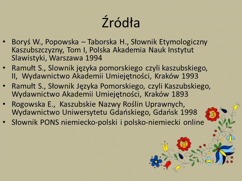 Źródła Boryś W., Popowska – Taborska H., Słownik Etymologiczny Kaszubszczyzny, Tom I, Polska Akademia Nauk Instytut Slawistyki, Warszawa 1994.