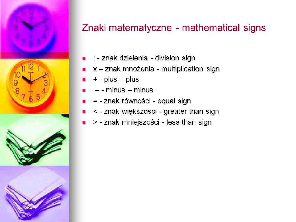 Znaki matematyczne - mathematical signs