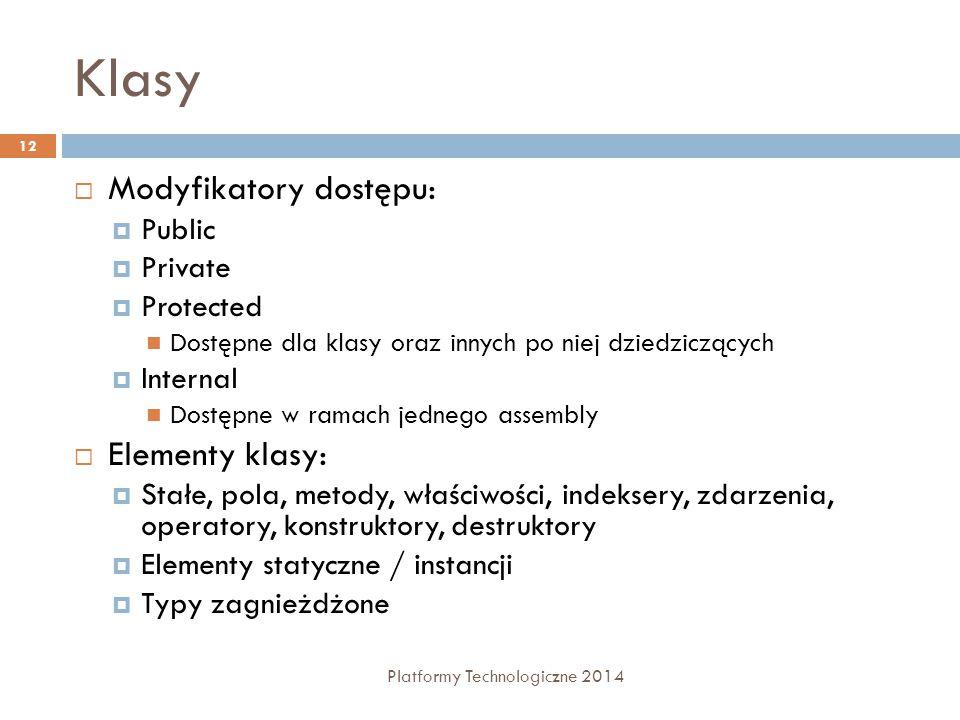 Klasy Modyfikatory dostępu: Elementy klasy: Public Private Protected
