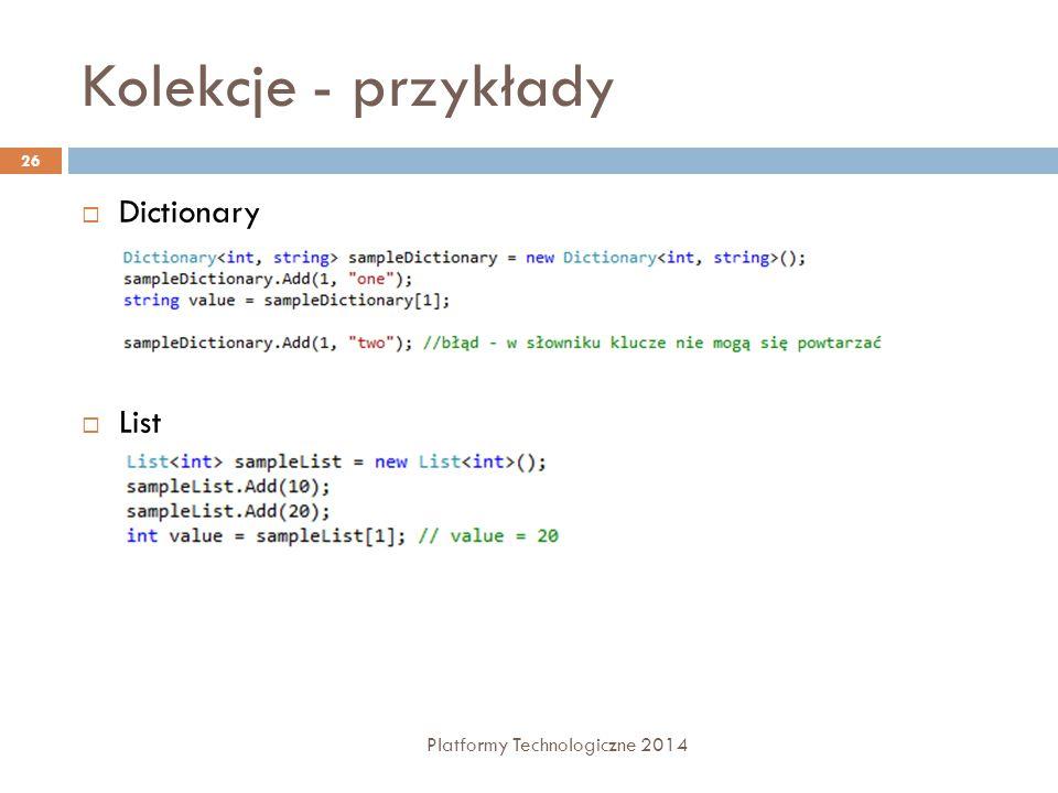 Kolekcje - przykłady Dictionary List Platformy Technologiczne 2014