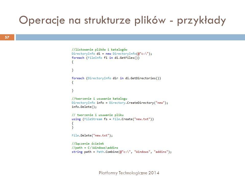 Operacje na strukturze plików - przykłady