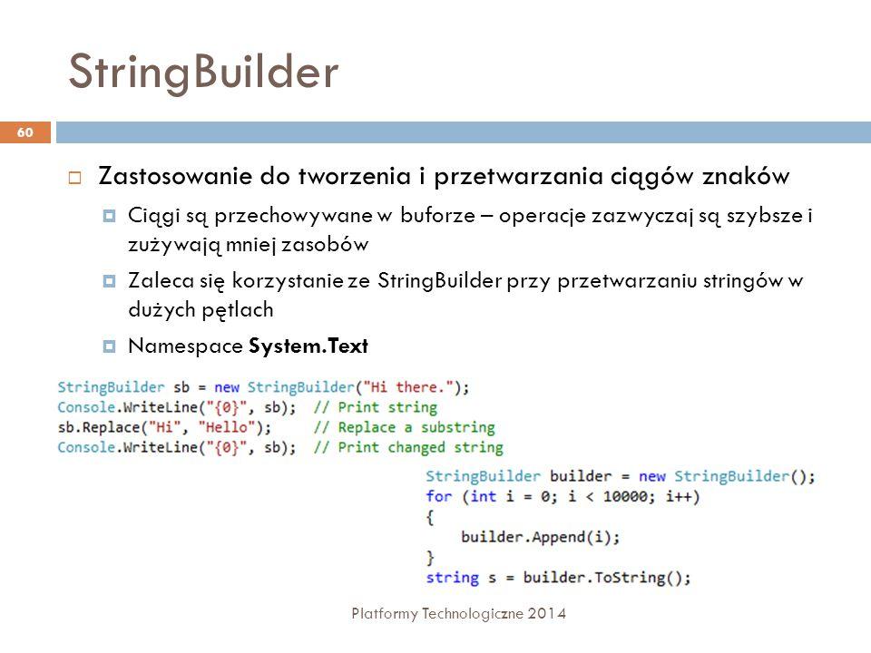 StringBuilder Zastosowanie do tworzenia i przetwarzania ciągów znaków