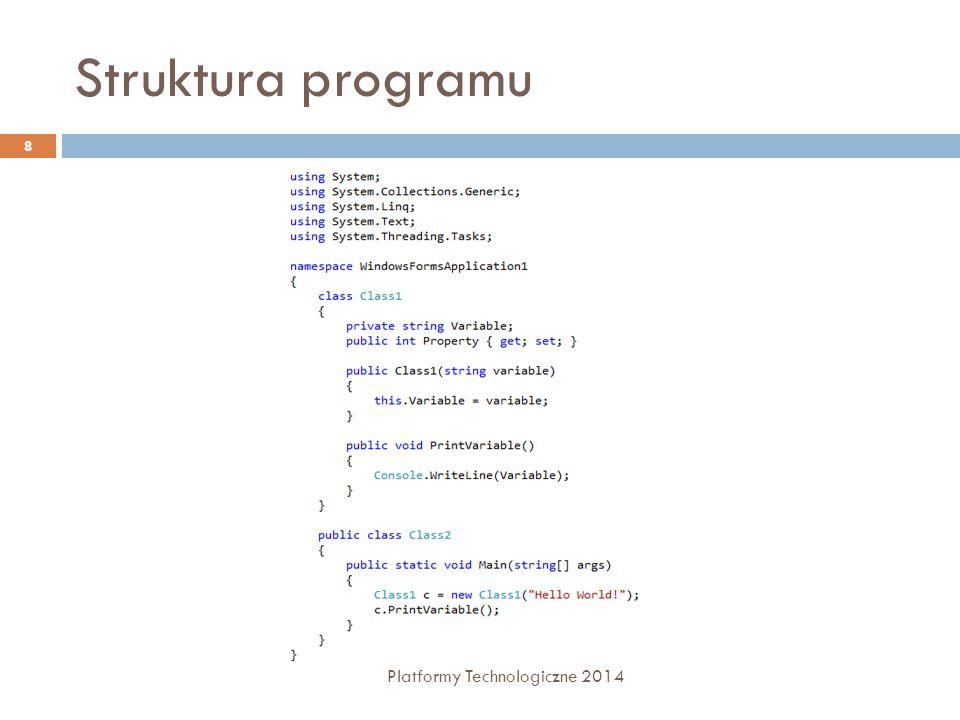 Struktura programu Platformy Technologiczne 2014