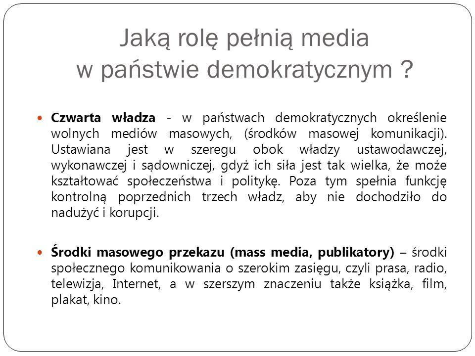 Jaką rolę pełnią media w państwie demokratycznym