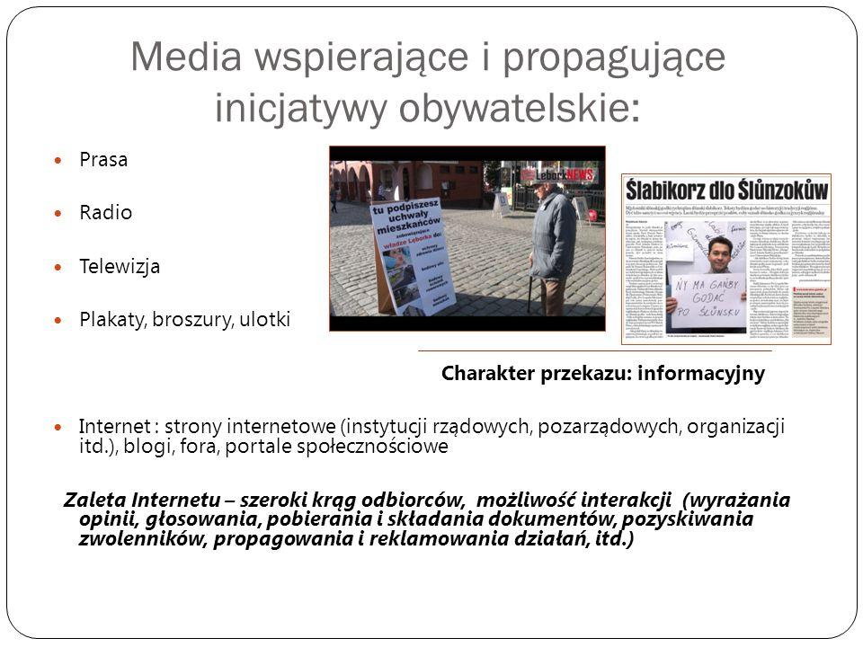 Media wspierające i propagujące inicjatywy obywatelskie: