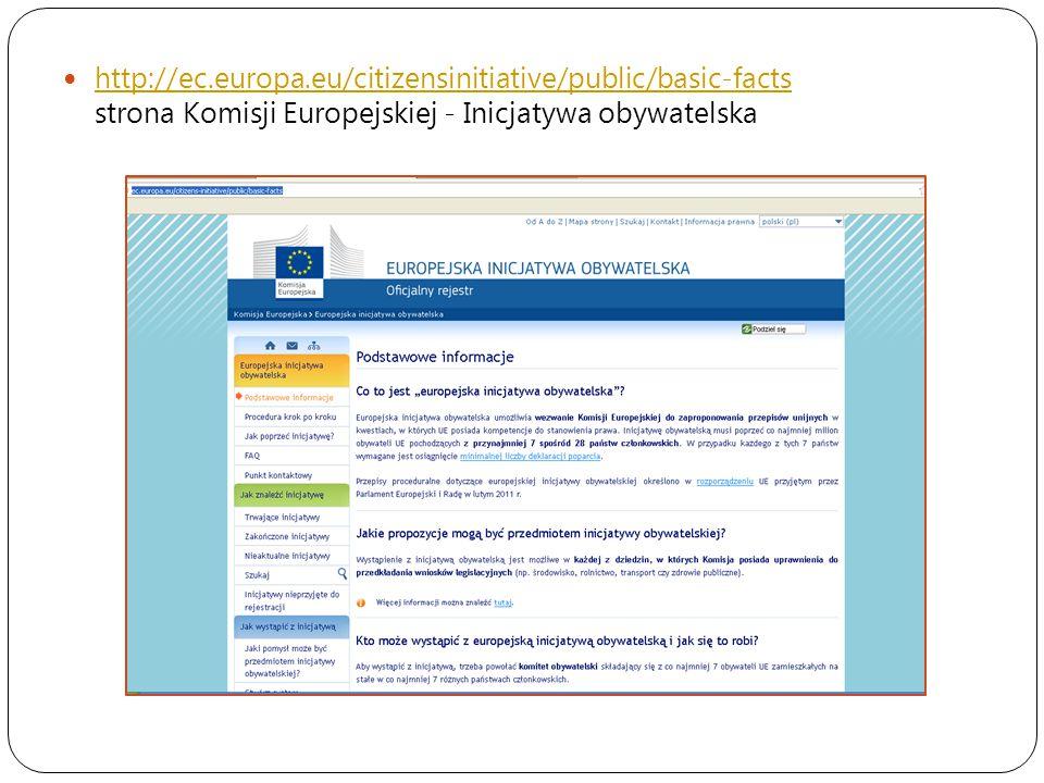 http://ec.europa.eu/citizensinitiative/public/basic-facts strona Komisji Europejskiej - Inicjatywa obywatelska