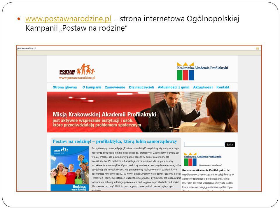 """www.postawnarodzine.pl - strona internetowa Ogólnopolskiej Kampanii """"Postaw na rodzinę"""
