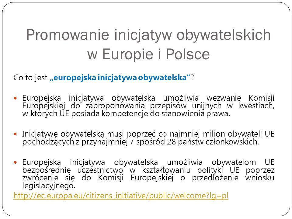 Promowanie inicjatyw obywatelskich w Europie i Polsce