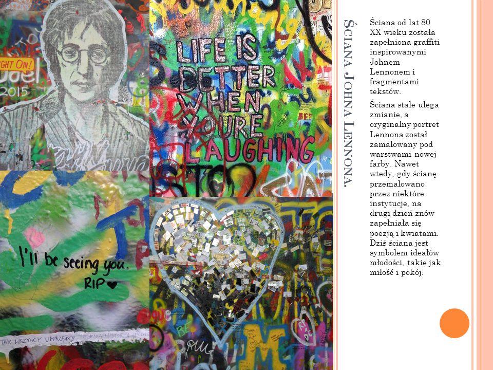 Ściana od lat 80 XX wieku została zapełniona graffiti inspirowanymi Johnem Lennonem i fragmentami tekstów.