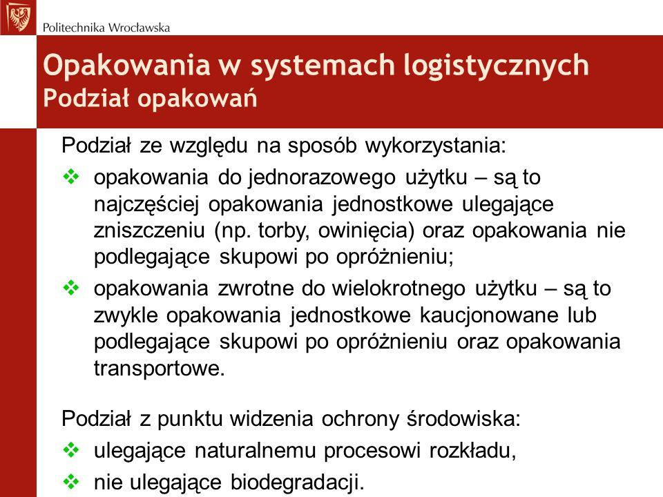 Opakowania w systemach logistycznych Podział opakowań