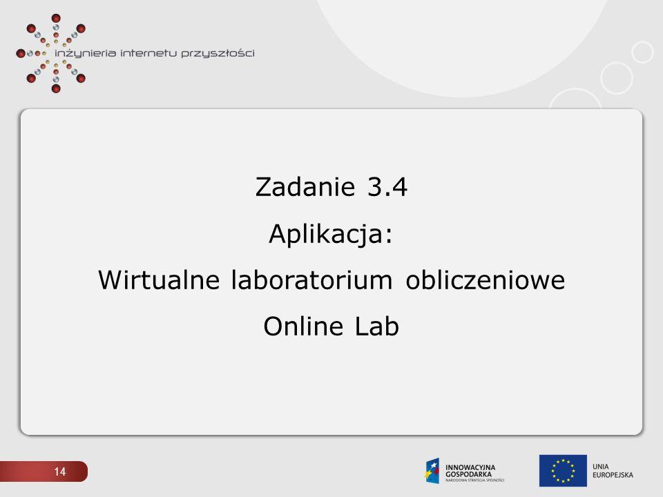 Zadanie 3.4 Aplikacja: Wirtualne laboratorium obliczeniowe Online Lab