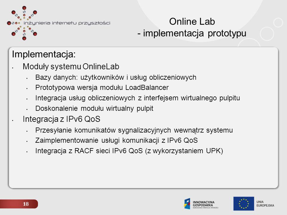 Online Lab - implementacja prototypu
