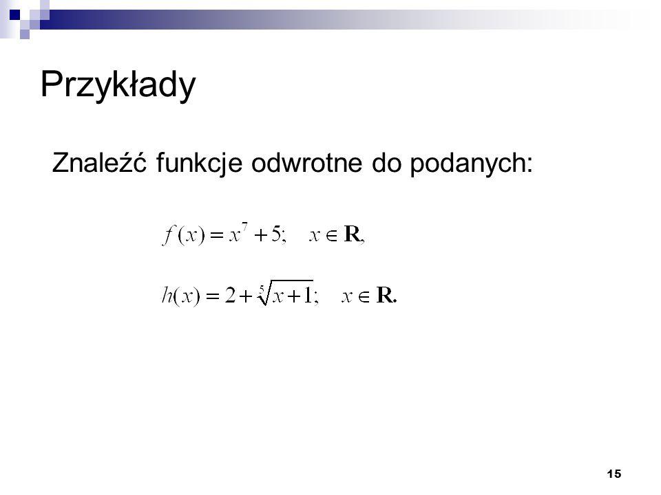 Przykłady Znaleźć funkcje odwrotne do podanych: