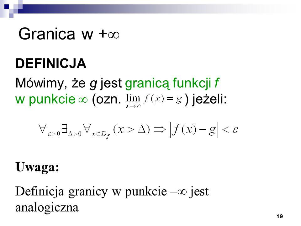 Granica w + DEFINICJA. Mówimy, że g jest granicą funkcji f w punkcie  (ozn. ) jeżeli: