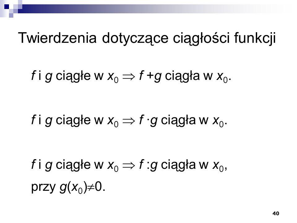 Twierdzenia dotyczące ciągłości funkcji