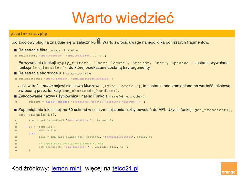 Warto wiedzieć Kod źródłowy: lemon-mini, więcej na telco21.pl