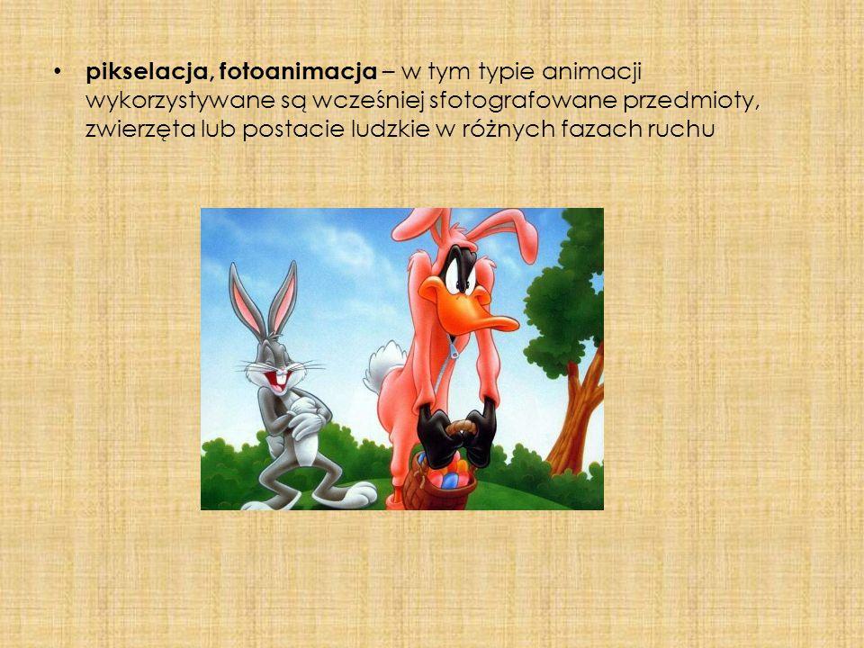 pikselacja, fotoanimacja – w tym typie animacji wykorzystywane są wcześniej sfotografowane przedmioty, zwierzęta lub postacie ludzkie w różnych fazach ruchu