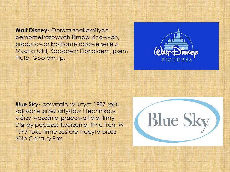 Walt Disney- Oprócz znakomitych pełnometrażowych filmów kinowych, produkował krótkometrażowe serie z Myszką Miki, Kaczorem Donaldem, psem Pluto, Goofym itp.