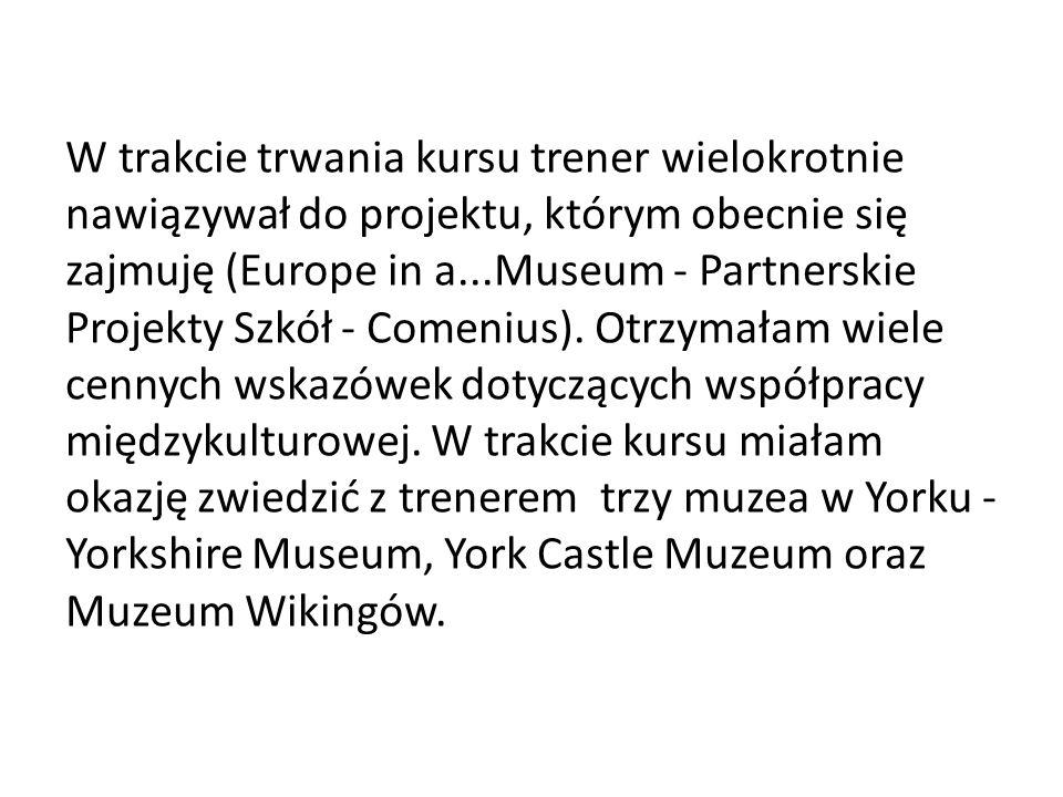 W trakcie trwania kursu trener wielokrotnie nawiązywał do projektu, którym obecnie się zajmuję (Europe in a...Museum - Partnerskie Projekty Szkół - Comenius).