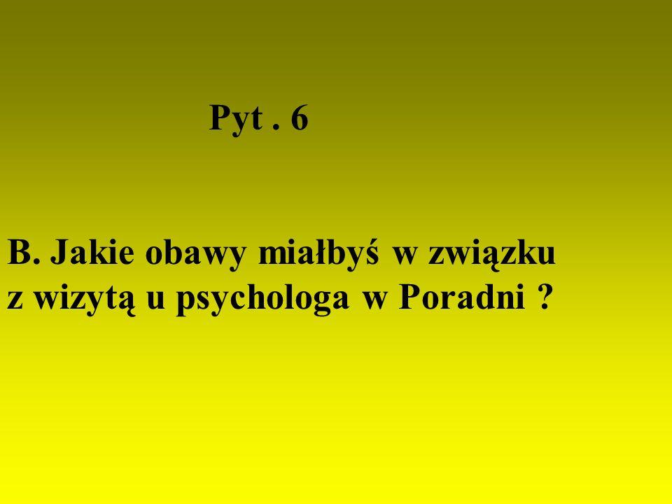 Pyt . 6 B. Jakie obawy miałbyś w związku z wizytą u psychologa w Poradni