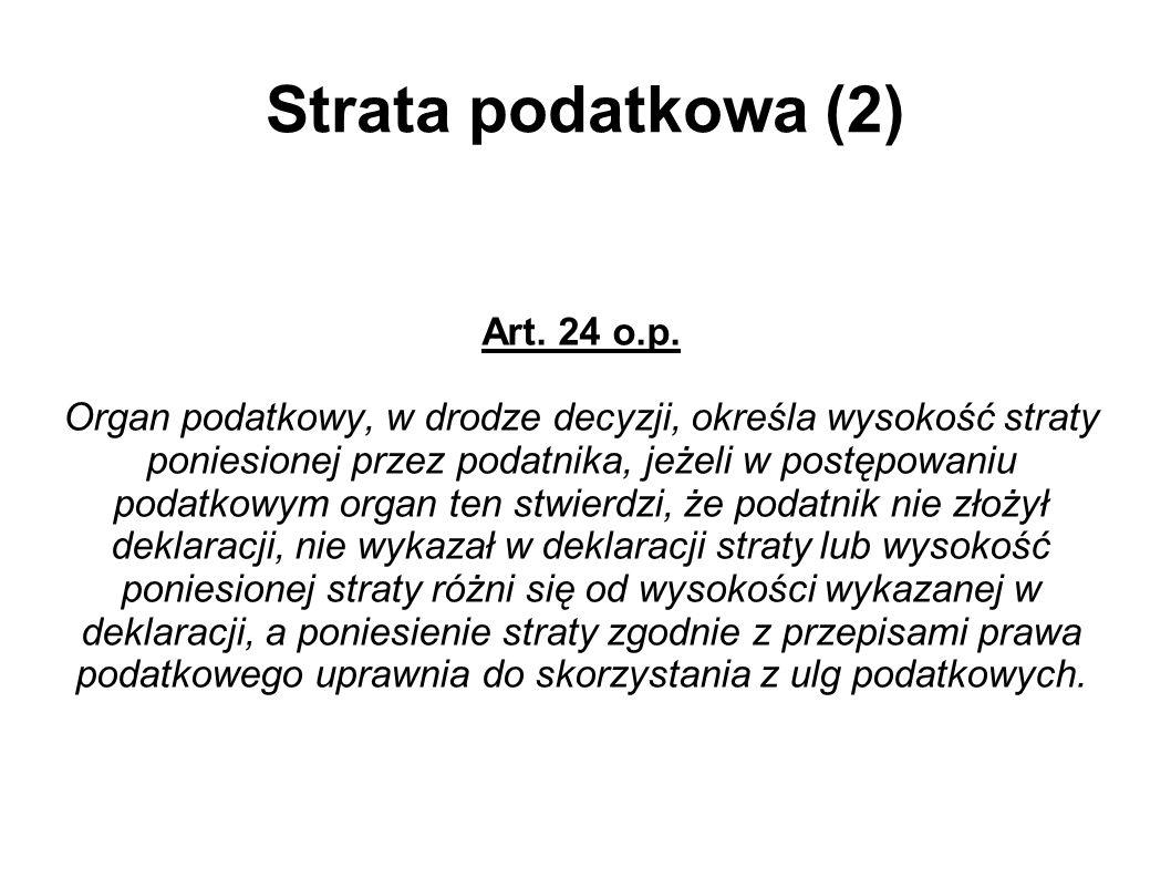 Strata podatkowa (2) Art. 24 o.p.