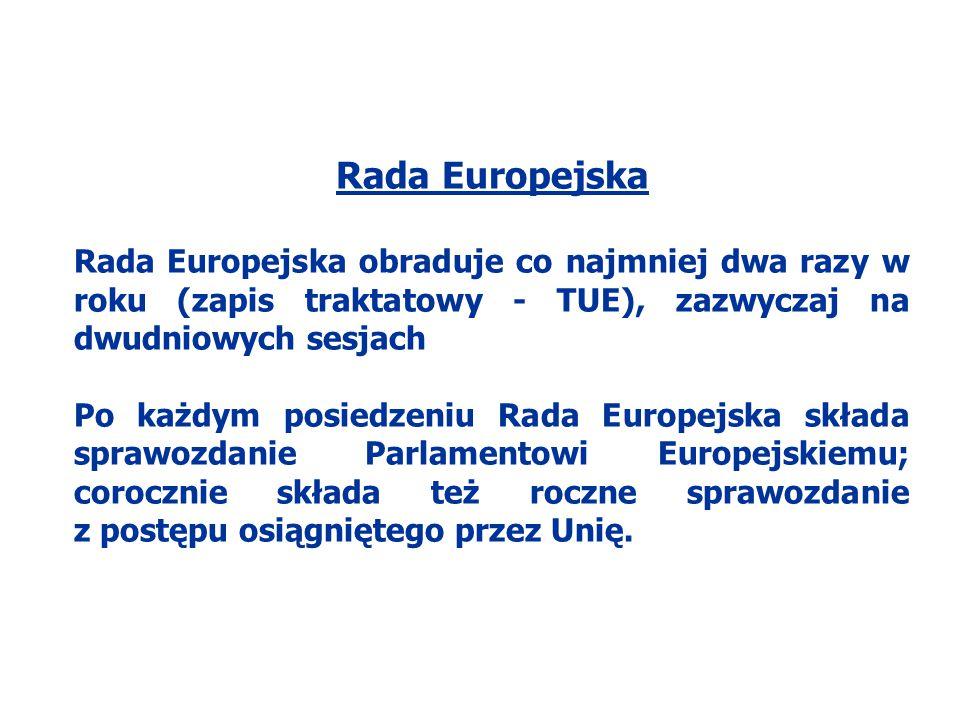 Rada Europejska Rada Europejska obraduje co najmniej dwa razy w roku (zapis traktatowy - TUE), zazwyczaj na dwudniowych sesjach.
