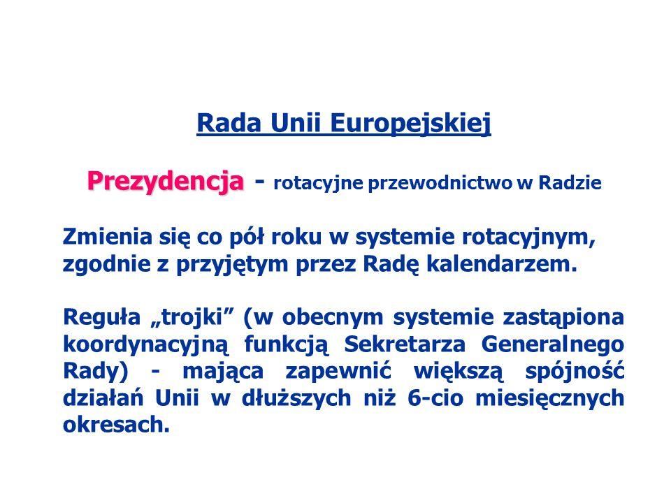 Rada Unii Europejskiej Prezydencja - rotacyjne przewodnictwo w Radzie