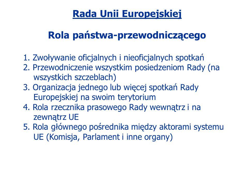 Rada Unii Europejskiej Rola państwa-przewodniczącego
