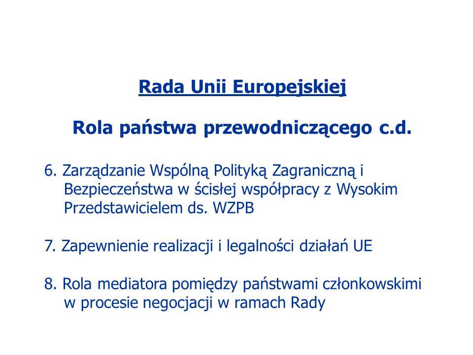 Rada Unii Europejskiej Rola państwa przewodniczącego c.d.