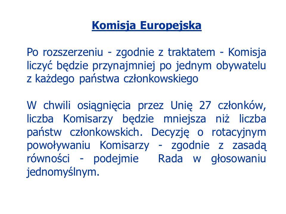 Komisja Europejska Po rozszerzeniu - zgodnie z traktatem - Komisja liczyć będzie przynajmniej po jednym obywatelu z każdego państwa członkowskiego.