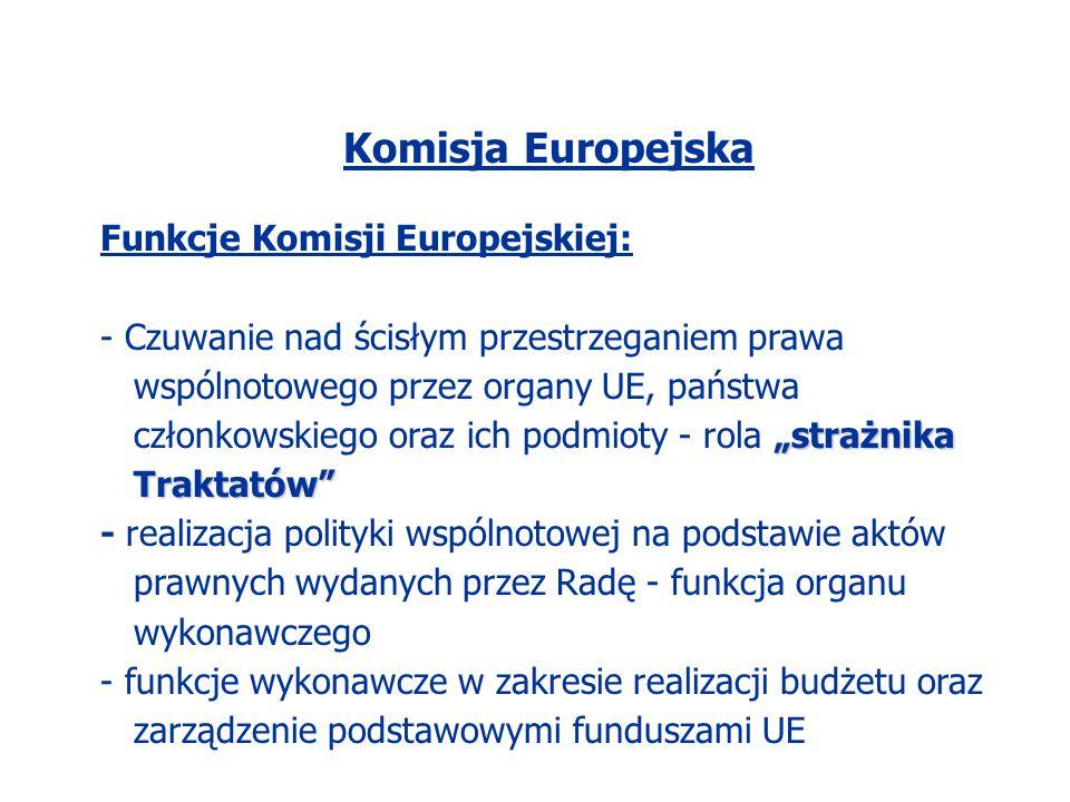 Komisja Europejska Funkcje Komisji Europejskiej:
