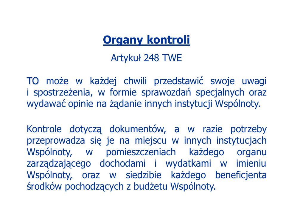 Organy kontroli Artykuł 248 TWE