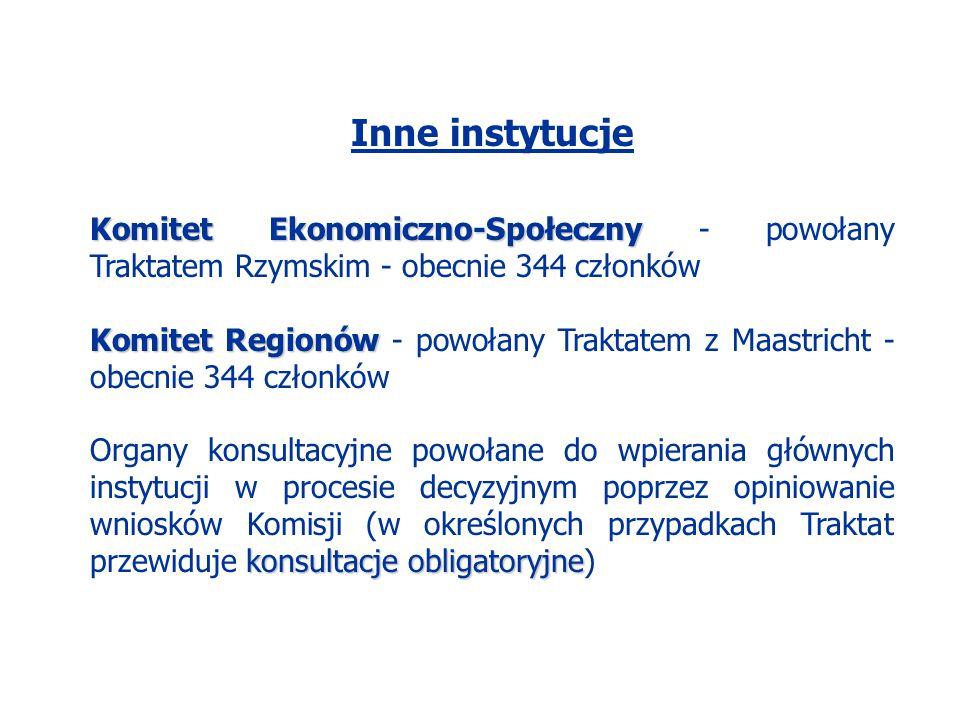 Inne instytucje Komitet Ekonomiczno-Społeczny - powołany Traktatem Rzymskim - obecnie 344 członków.
