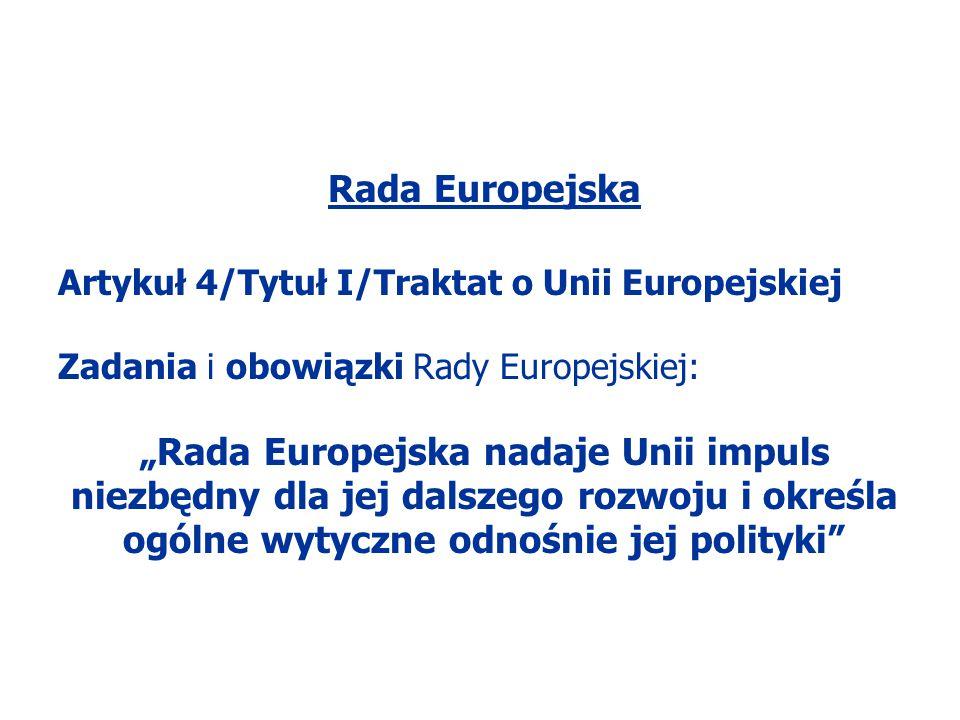 Rada Europejska Artykuł 4/Tytuł I/Traktat o Unii Europejskiej. Zadania i obowiązki Rady Europejskiej: