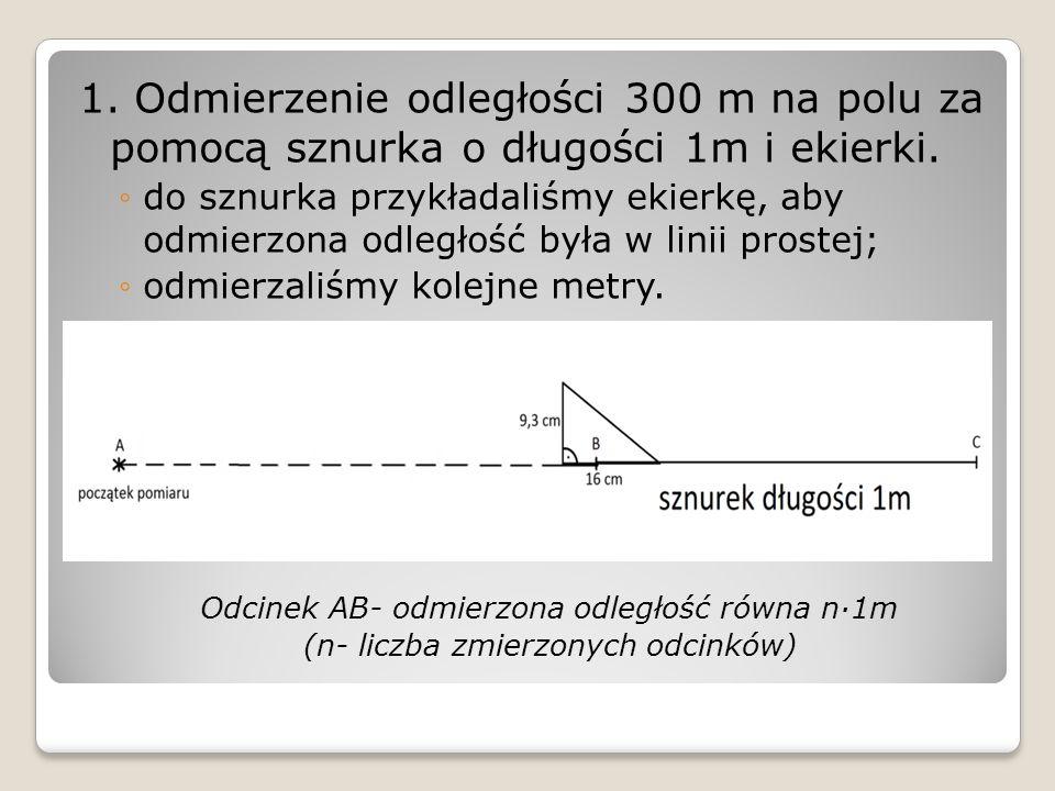 1. Odmierzenie odległości 300 m na polu za pomocą sznurka o długości 1m i ekierki.