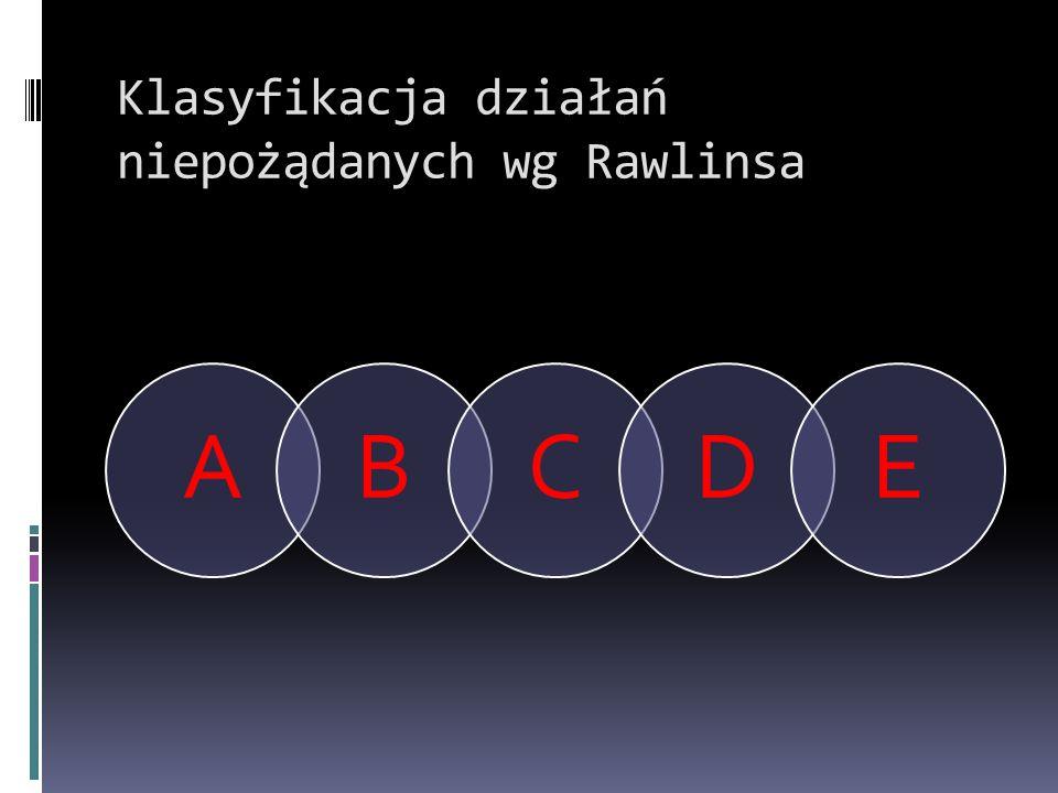 Klasyfikacja działań niepożądanych wg Rawlinsa